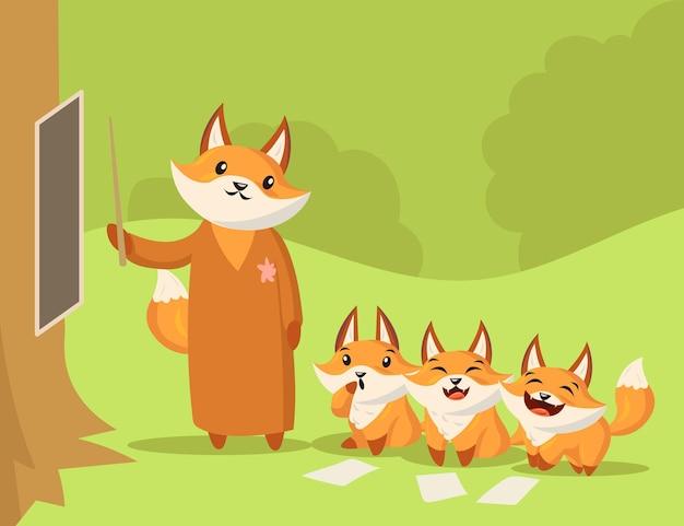 Profesor de zorro de dibujos animados dando lección a pequeños zorros