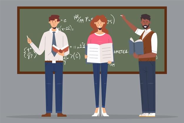 Profesores que ayudan a los jóvenes estudiantes.