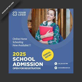 Programa de admisión escolar diseño de publicaciones en redes sociales.