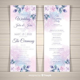 Programa de boda adorable con flores en acuarela
