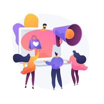 Programa de bonificaciones, descuentos y regalos, campaña publicitaria. oferta para compradores, promoción de mercadería. promotor con personaje de dibujos animados de megáfono. ilustración de metáfora de concepto aislado de vector.