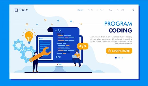 Programa de codificación de la página de inicio del sitio web de diseño de ilustración vectorial