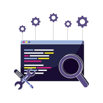 Programa de código de sitio web y lupa con equipos