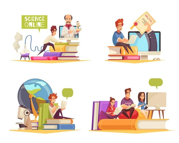 Programa de cursos en línea aprendizaje a distancia en casa obteniendo el título universitario diploma concepto 4 composiciones de dibujos animados aisladas