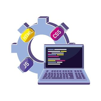 Programa de engranajes industriales y código loptop