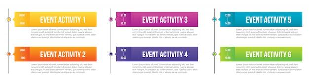 Programa de eventos diarios en blanco, cronograma del día.