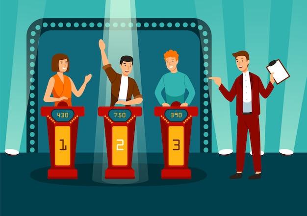 Programa de juegos de televisión con tres participantes respondiendo preguntas o resolviendo acertijos y anfitrión