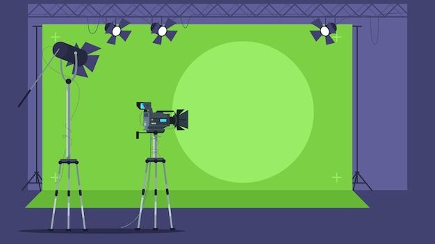 Programa de noticias filmando ilustración semi plana.