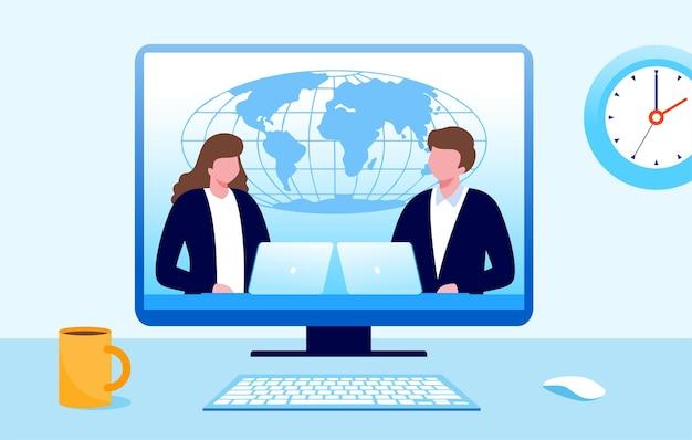 Programa de noticias en la ilustración de vector plano de tv para banner y página de destino