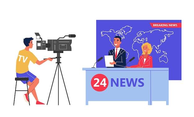 Programa de noticias de rodaje en el estudio. locutor de telediario