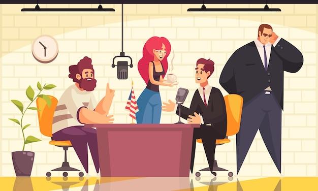 Programa de radio con entrevista a un político en la ilustración plana de símbolos de aire