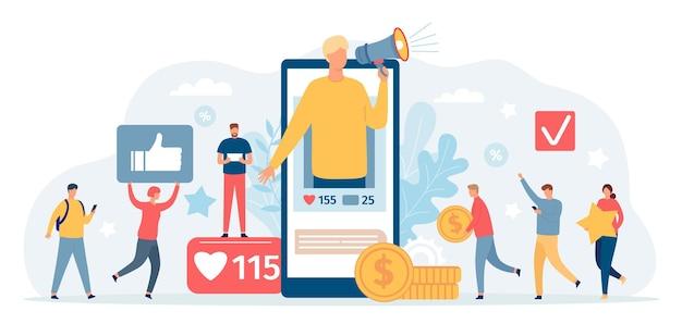 Programa de referencia. hombre con megáfono en la pantalla del teléfono invita a amigos y consigue dinero. marketing en redes sociales, concepto de vector de programas de fidelización. amigo de recomendación del programa de ilustración, recomendación comercial