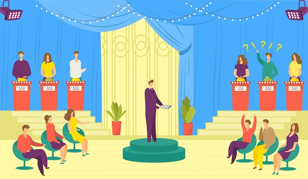 Programa de televisión, ilustración de juegos de televisión. programa de televisión de entretenimiento con participantes respondiendo preguntas o resolviendo acertijos y anfitrión. concurso de televisión. concurso de video de costa ancha.