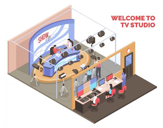 Programa de televisión en vivo con dos presentadores transmitiendo desde el concepto isométrico de estudio sobre fondo blanco.