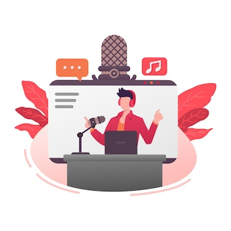 Programa de voz podcast broadcast mic