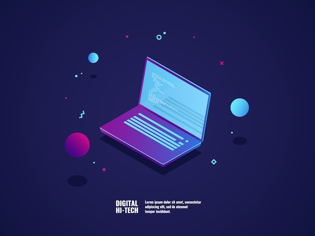 Programación de la aplicación y concepto de desarrollo de software, laptop con código de programa.