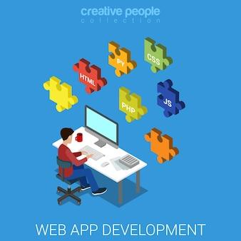 Programación de código de desarrollo de base de datos backend de software de aplicación web.