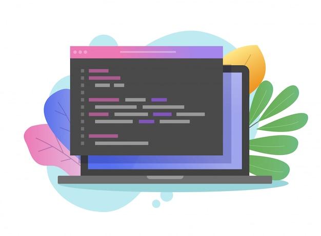 Programación de código javascript o html en la pantalla de la computadora portátil