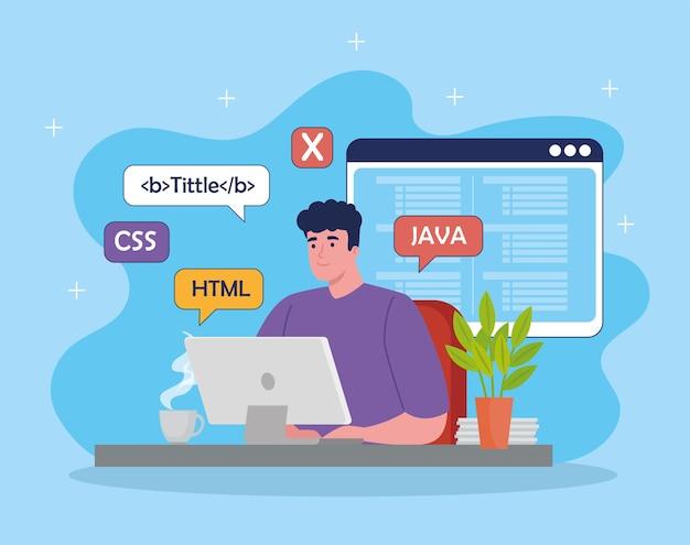 Programación de desarrollador de software en escritorio con símbolos de código
