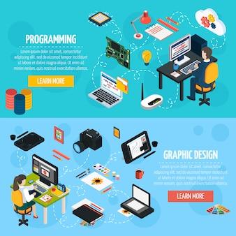 Programación y diseño gráfico de banners isométricos.