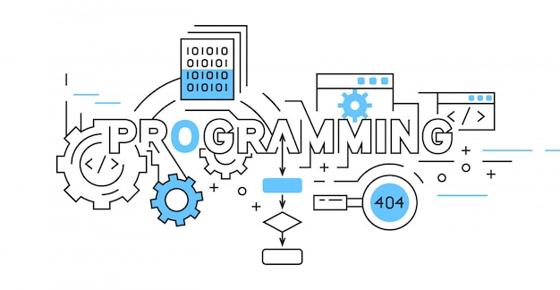 Programación de diseño de línea plana en azul