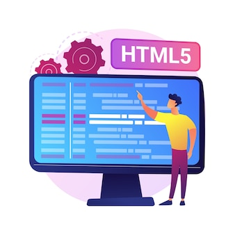 Programación html5. desarrollo de sitios web de internet, ingeniería de aplicaciones web, escritura de guiones. optimización de código html, programador solucionando errores.