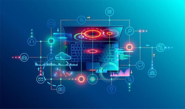 Programación o desarrollo de software concepto abstracto. vista superior