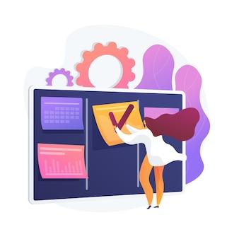 Programación, planificación, establecimiento de metas. programación, sincronización, optimización del flujo de trabajo, tomando nota de la asignación. empresaria con personaje de dibujos animados de horario. ilustración de metáfora de concepto aislado de vector.
