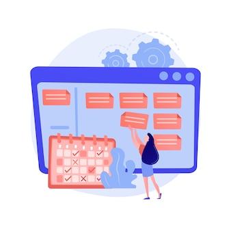 Programación, planificación, establecimiento de metas. programación, sincronización, optimización del flujo de trabajo, tomando nota de la asignación. empresaria con personaje de dibujos animados de horario.