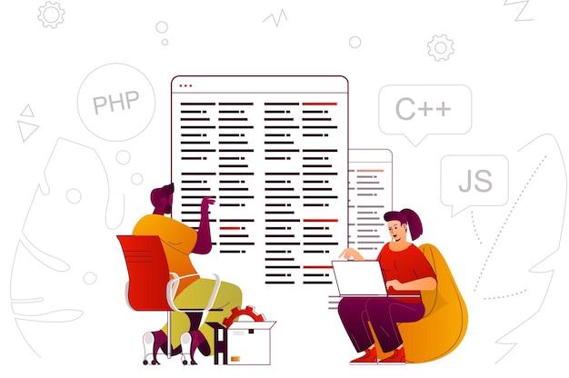 Programación de software desarrolladores de concepto web crean programas y aplicaciones.