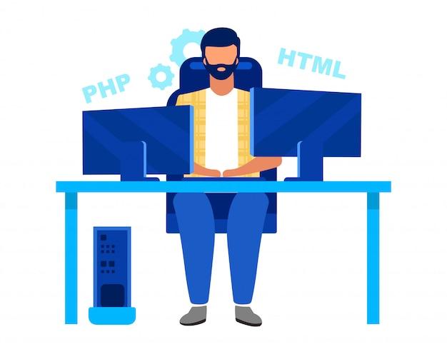Programador, codificador ilustración vectorial plana. ingeniero de software, desarrollador profesional aislado personaje de dibujos animados. call center, trabajador del departamento de ti, freelance, outsourcer