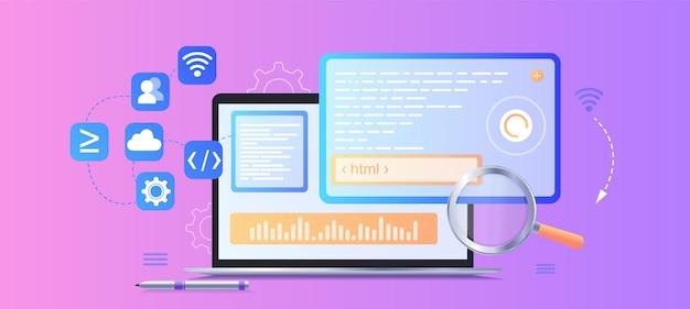 Programador de desarrollo web sitio web de ingeniería y codificación en pantallas de interfaz de realidad aumentada desarrollador ingeniero de proyectos software de programación o diseño de aplicaciones banner web