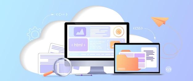 Programador de desarrollo web sitio web de ingeniería y codificación en pantallas de interfaz de realidad aumentada