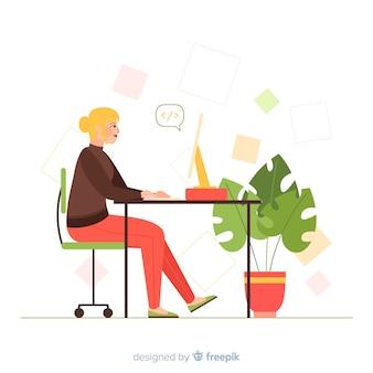 Programador femenino trabajando ilustrado