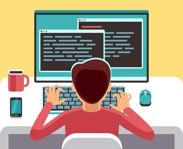 Programador del hombre joven que trabaja en la computadora con código en la pantalla. concepto de vector de programación de estudiantes