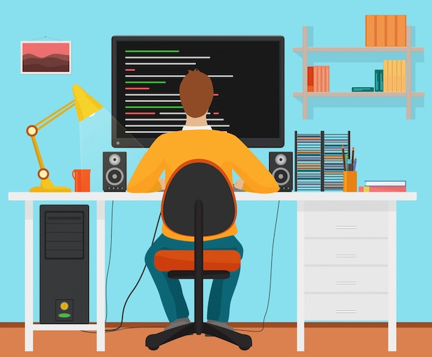 Programador hombre vista posterior