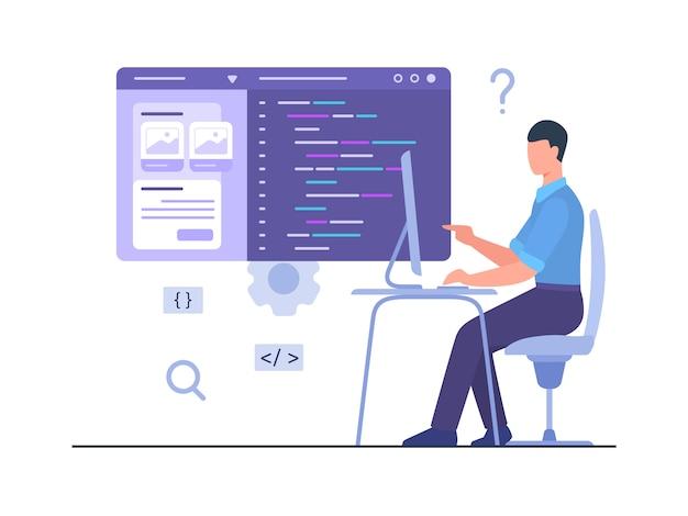 El programador de hombres se sienta en la silla para trabajar en la computadora y crea una aplicación móvil de desarrollo con un estilo plano de dibujos animados.