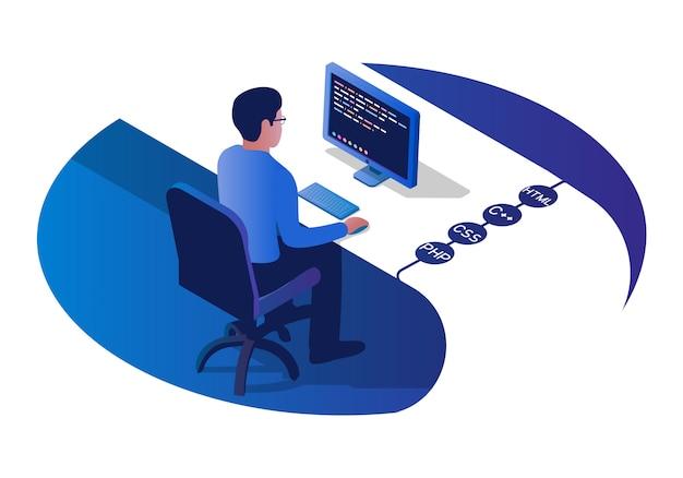 Programador isométrico escribiendo código