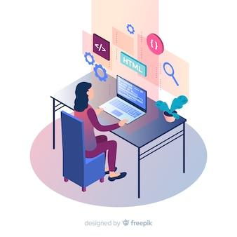 Programador isométrico trabajando en escritorio