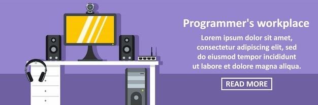 Programador lugar de trabajo banner concepto horizontal