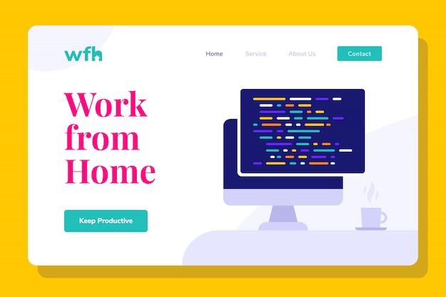 Programador moderno que trabaja desde la página de inicio de la ilustración del hogar, banners web, adecuado para diagramas, infografías, ilustración de libros, activos de juegos y otros activos gráficos