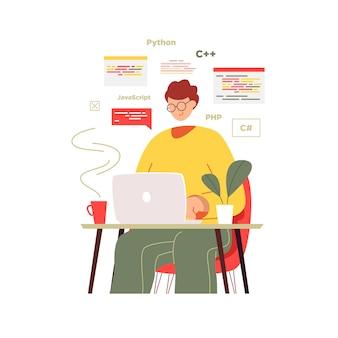 El programador está sentado frente a la computadora portátil.