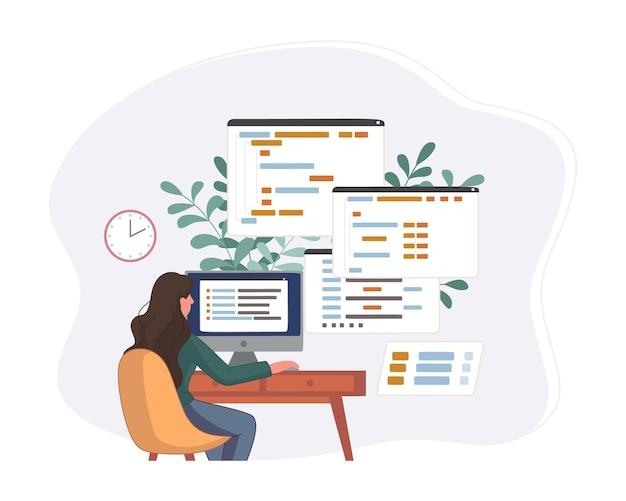 Programador trabajando en código de desarrollo web. ingeniero de programación en script python, php y java en computadora.