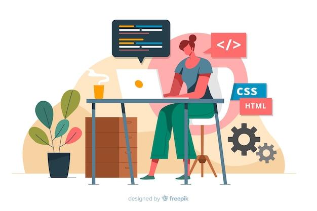 Programador trabajando con css