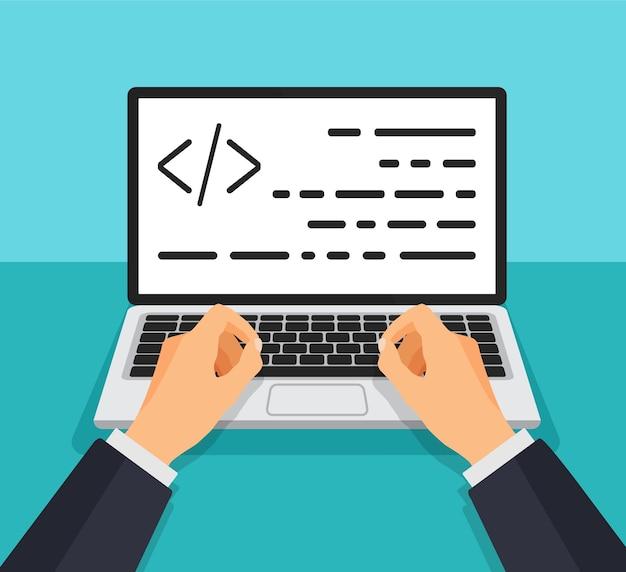 Programador trabajando escribiendo código. hombre escribiendo en el teclado con código en la pantalla. desarrollador web, diseño, programación. concepto de codificación.