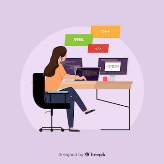 Programador trabajando en escritorio