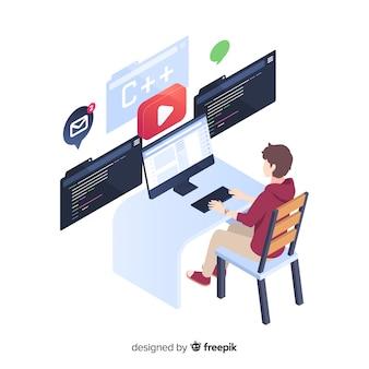 Programador trabajando en estilo isométrico