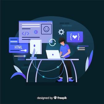 Programador trabajando en estilo plano