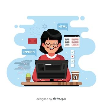 Programador trabajando con php