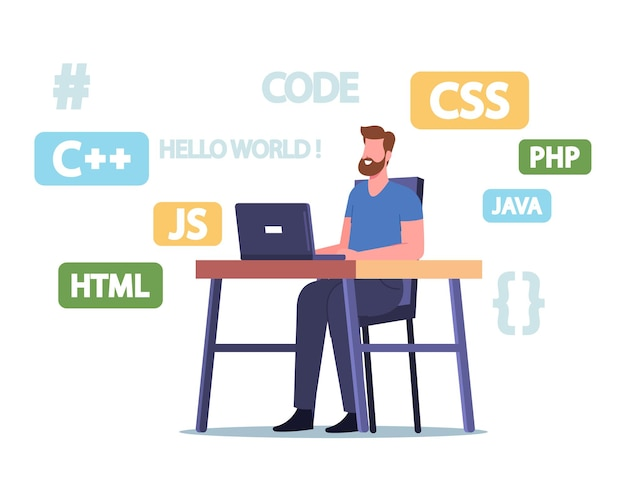 Programador trabajo de carácter en computadora portátil desarrollando lenguajes de programación, sitios web o software. ocupación de estudios en línea, educación a distancia, codificación y computación. ilustración de vector de gente de dibujos animados
